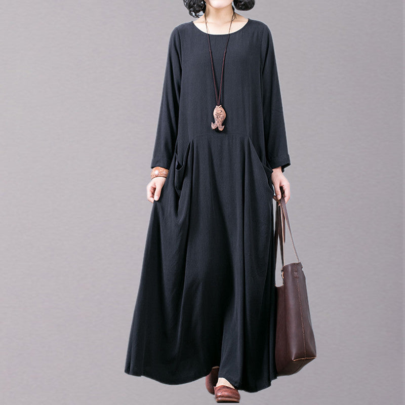 New black fall dress plus size O neck pockets traveling clothing boutique long sleeve autumn dress