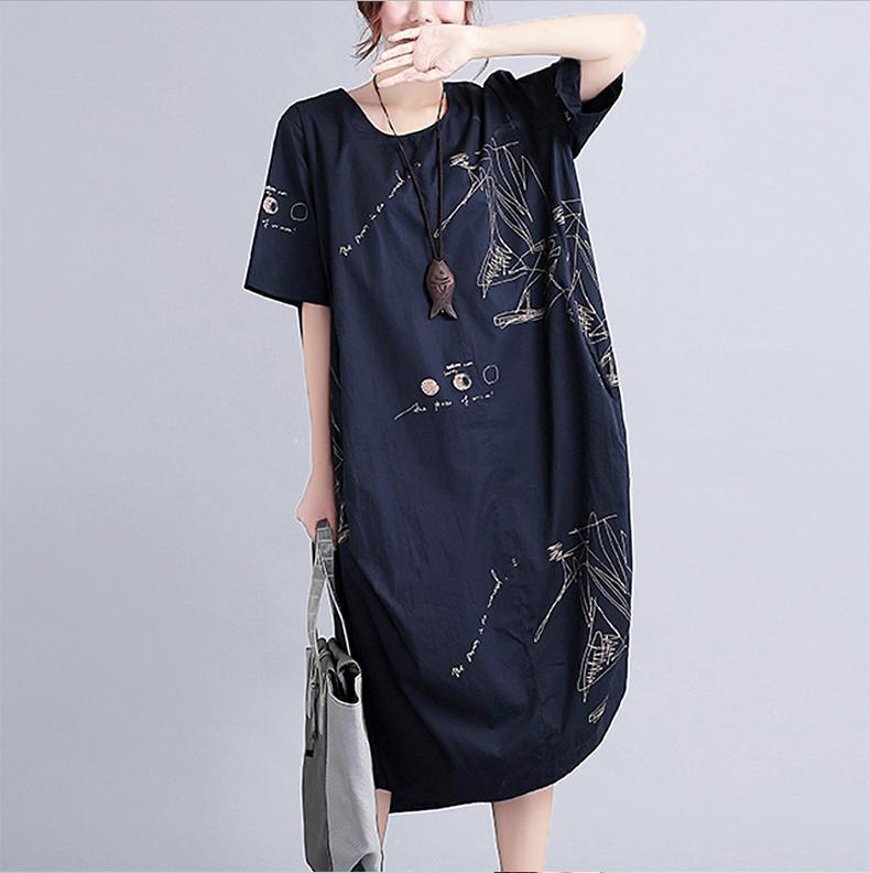 New black linen knee dress oversized linen clothing dress 2018short sleeve prints linen cotton dress