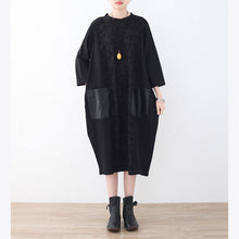 Load image into Gallery viewer, New black natural linen dress oversized patchwork caftans New pockets maxi dresses