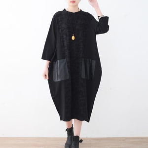 New black natural linen dress oversized patchwork caftans New pockets maxi dresses