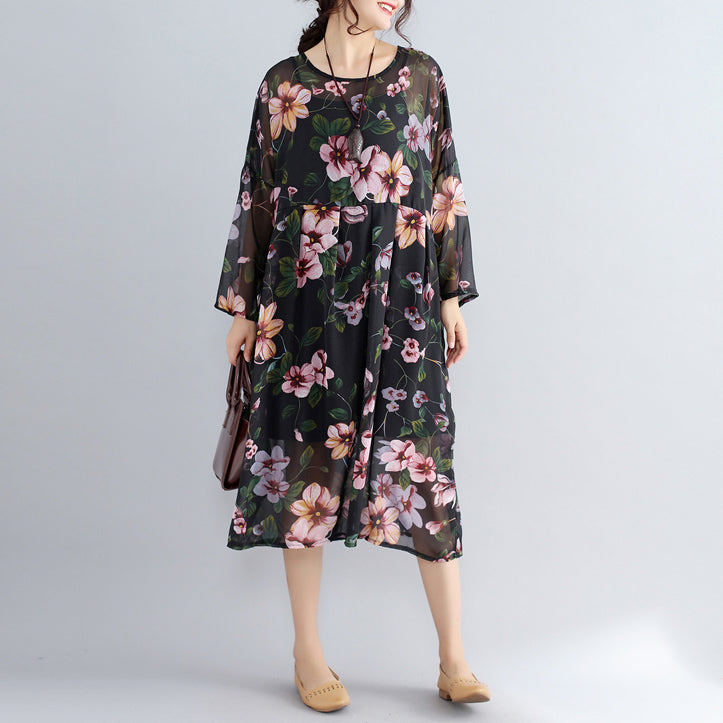 New black prints chiffon dresses plus size casual dress long sleeve two pieces dress