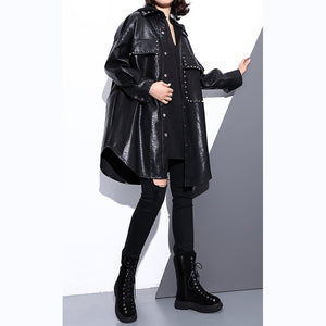 New black pu blouse oversize lapel collar pockets t shirt Elegant long sleeve Rivet pu coat