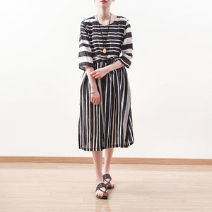New black white striped natural linen dress Loose fitting tie waist traveling clothing Elegant bracelet sleeved gown