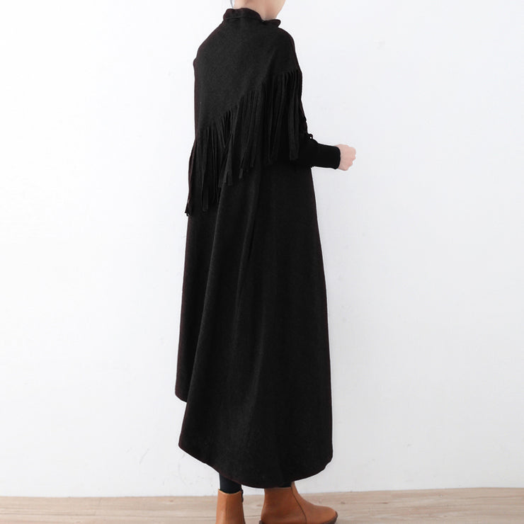 New black wool dress casual tassel winter dress Elegant asymmetric hem winter dress