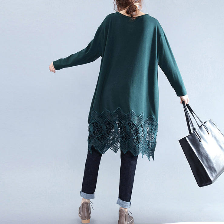 New blackish green cotton shift dress plussize cotton clothing dresses vintage lace ruffles long sleeve cotton dresses