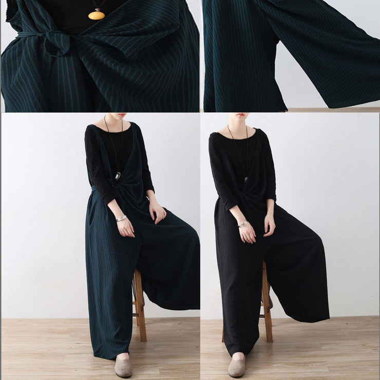 New blackish green jumpsuit pants striped wide leg oversize jumpsuits trousers side
