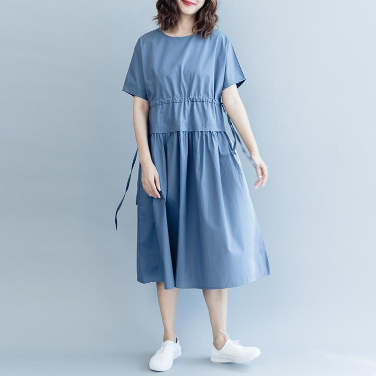 New blue cotton dresses oversize o neck drawstring caftans Fine short sleeve baggy dresses