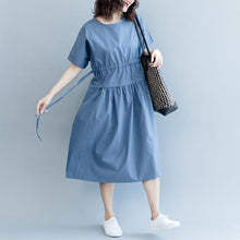 Load image into Gallery viewer, New blue cotton dresses oversize o neck drawstring caftans Fine short sleeve baggy dresses