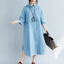 Load image into Gallery viewer, New blue cotton dresses plus size Turn-down Collar pockets side open New Three Quarter sleeve cotton dresses