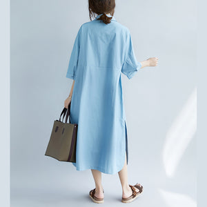 New blue cotton dresses plus size Turn-down Collar pockets side open New Three Quarter sleeve cotton dresses