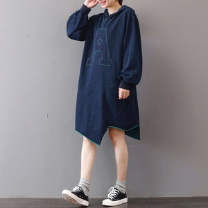 New blue cotton knee dress Loose fitting traveling clothing asymmetric hem 2018hooded cotton dresses