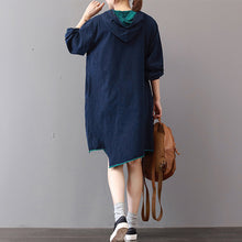 Load image into Gallery viewer, New blue cotton knee dress Loose fitting traveling clothing asymmetric hem 2018hooded cotton dresses