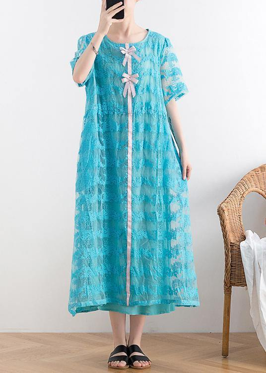 New blue lace embroidery organza heavy industry retro exquisite loose dress