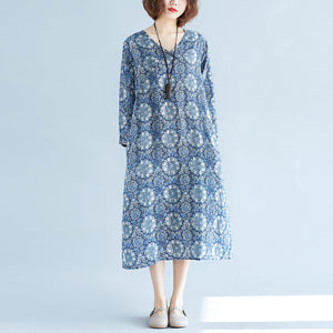 New blue print long linen dress plus size clothing v neck baggy dresses traveling clothing vintage long sleeve pockets dresses