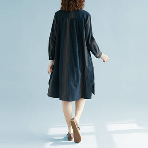 New blue striped cotton linen dress trendy plus size casual long sleeve baggy dresses Stand side open linen cotton dress
