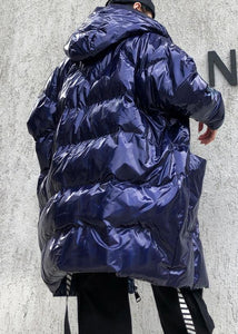 New blue womens parkas casual Coats winter hooded zippered outwear