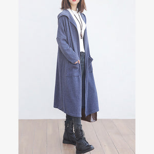 New blue wool overcoat plus size clothing big pockets trench coat hooded outwear