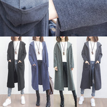 Load image into Gallery viewer, New blue wool overcoat plus size clothing big pockets trench coat hooded outwear