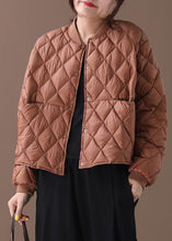 Load image into Gallery viewer, New brown warm winter coat plus size winter stand collar Geometric overcoat