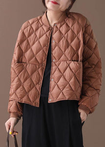 New brown warm winter coat plus size winter stand collar Geometric overcoat