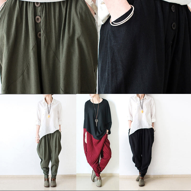 New burgundy loose cotton pants oversized harem pants trousers