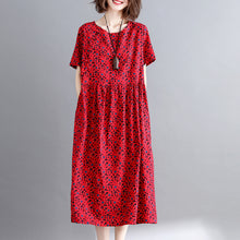 Load image into Gallery viewer, New burgundy print cotton linen dresses casual short sleeve maxi dress vintage o neck caftans