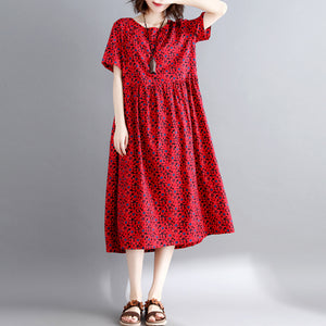 New burgundy print cotton linen dresses casual short sleeve maxi dress vintage o neck caftans