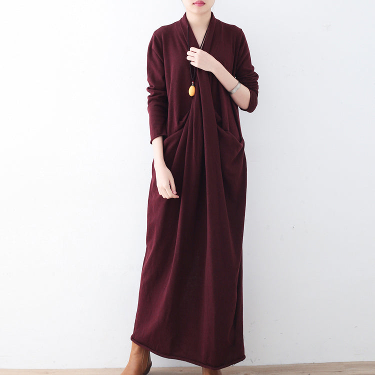 New burgundy sweater dresses plussize pullover vintage asymmetric winter dress