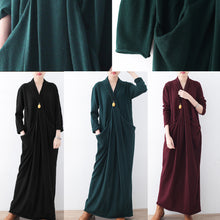 Load image into Gallery viewer, New burgundy sweater dresses plussize pullover vintage asymmetric winter dress