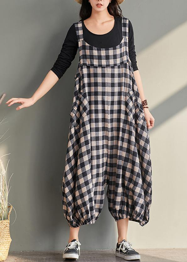 New cage pants casual plaid jumpsuit cotton and linen overalls women