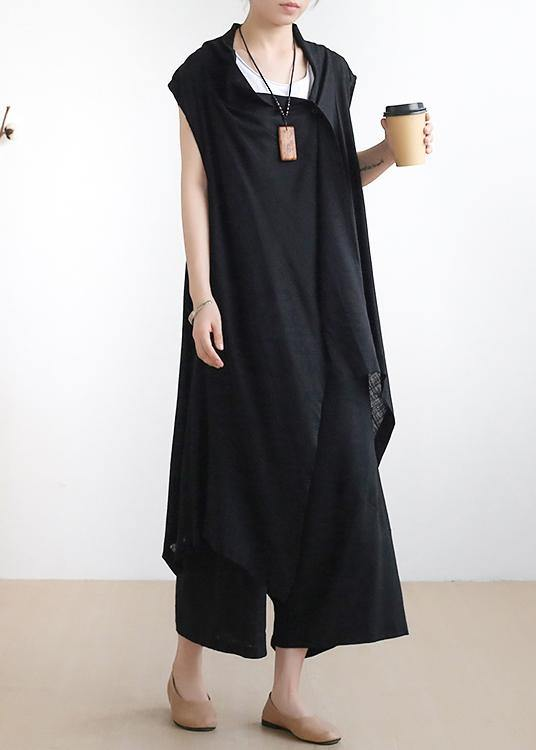 New casual ladies black vest with cotton wide-leg pants two-piece suit