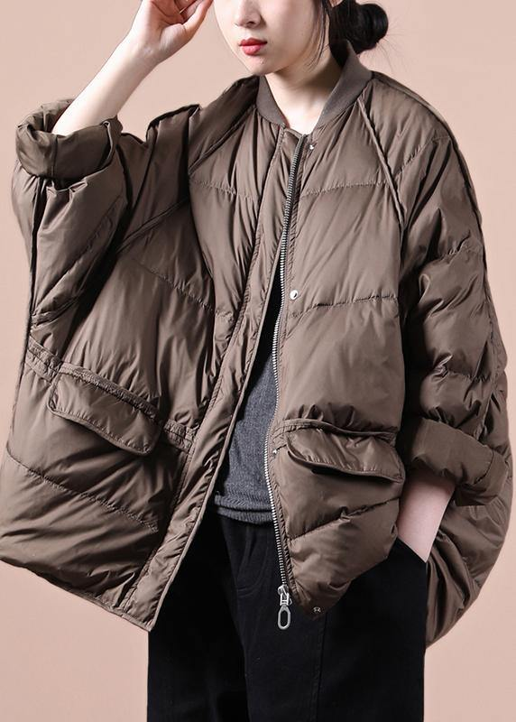 New chocolate down jacket woman oversize snow pockets zippered  coats
