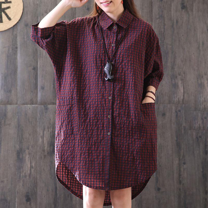 New cotton blended blouse casual Loose Casual Plaid Single Breasted Women Red Shirt