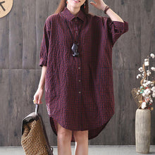Load image into Gallery viewer, New cotton blended blouse casual Loose Casual Plaid Single Breasted Women Red Shirt