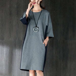 New cotton knee dress plus size clothing Cotton Short Sleeves Women Splicing Dress
