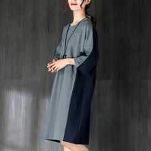 Load image into Gallery viewer, New cotton knee dress plus size clothing Cotton Short Sleeves Women Splicing Dress
