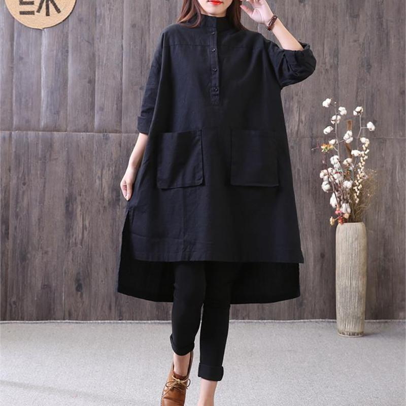 New cotton linen blouse Loose fitting Loose Irregular Stand Collar Long Sleeve Black Shirt