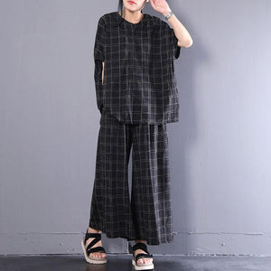 New cotton tops plus size Casual Short Sleeve Plaid Cotton Summer Suits
