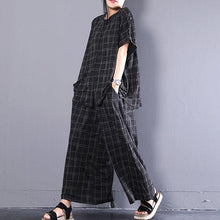 Laden Sie das Bild in den Gallery Viewer. Neue Baumwolloberteile in Übergröße. Casual Short Sleeve Plaid Cotton Summer Suits