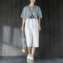 Load image into Gallery viewer, New cotton tops plus size Short Sleeve Splicing Gray And White Cotton Tops