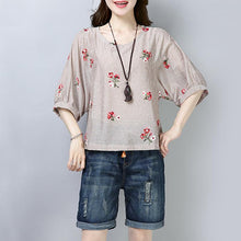 Load image into Gallery viewer, New cotton tops plus size clothing Casual Stripe Floral Printing Short Sleeve Pullover Blouse