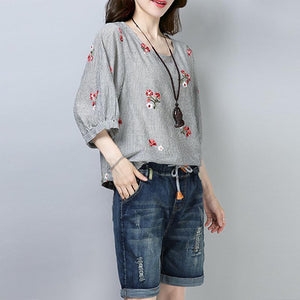 New cotton tops plus size clothing Casual Stripe Floral Printing Short Sleeve Pullover Blouse