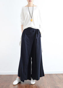New dark blue ladies loose tie irregular wide leg cotton and linen pants