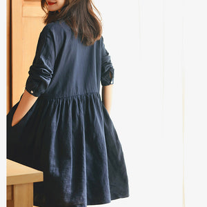 New dark blue linen knee dress plus size traveling dress vintage long sleeve baggy dresses Stand wrinkled linen dresses