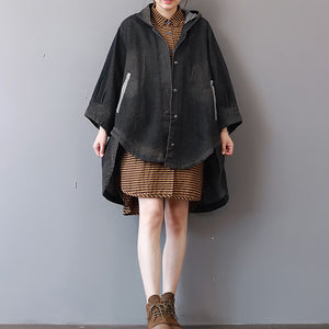 New dark gray denim coats trendy plus size hooded trench coat fine low high design coat