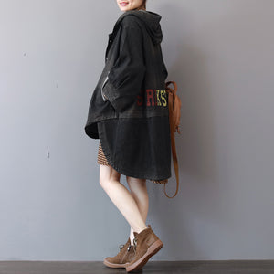 New dark gray denim coats trendy plus size hooded trench coat top quality low high design coat