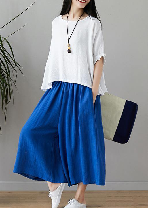 New fashion cotton and linen women loose large size was thin solid color shirt + wide leg pants two-piece