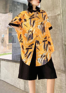 New female plus size casual yellow printed shirt + five-point pants two-piece suit