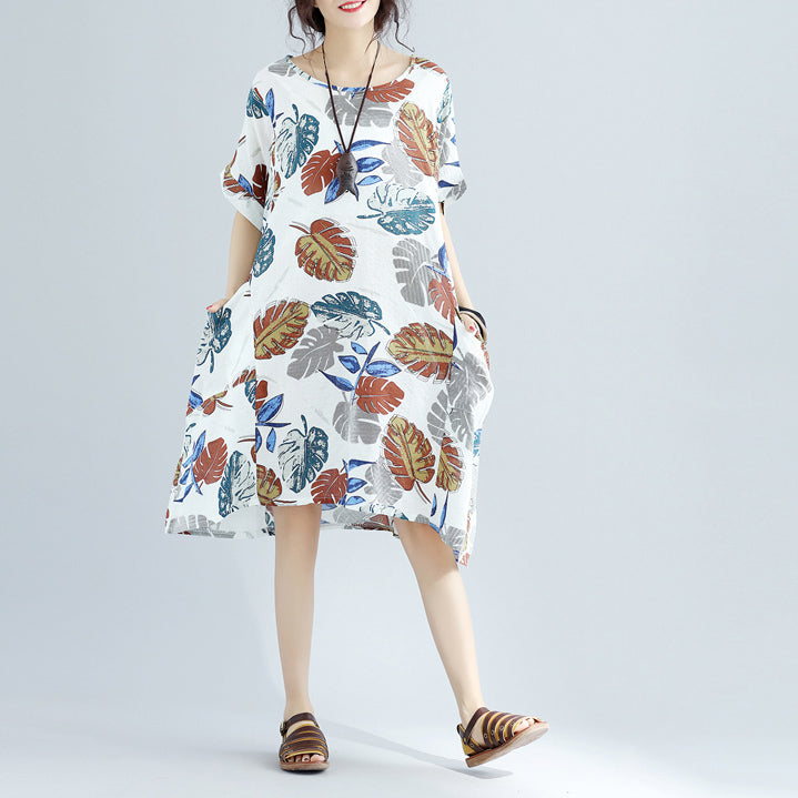 New floral Midi-length linen dress oversized linen cotton dress fine short sleeve o neck linen clothing dresses