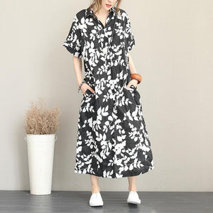New floral long cotton dress plus size clothing lapel collar caftans New short sleeve caftans
